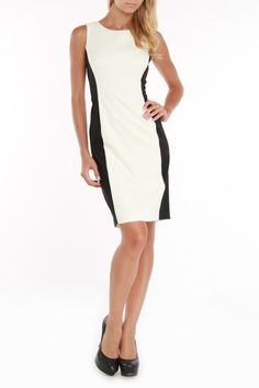 Nine West Jennifer Ponte Sheath Dress In Ivory & Black