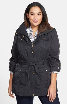Ellen Tracy Short Techno Trench Coat (Plus Size) | Nordstrom