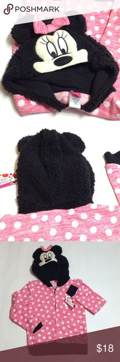 Disney Minnie Mouse lightweight  jacket Look at that hat! Such a cute face with ears and a bow! 🎀 Fabric is lightly textured. Light flannel lining. Disney Jackets & Coats