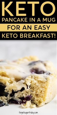 This easy Keto Pancake Mug Cake is sooo good and takes no time at all to make! It's the best easy keto breakfast recipe, especially when you top it with a keto glaze icing. YUM, right? Keto Foods, Ketogenic Recipes, Keto Snacks, Keto Recipes, Keto Meal, Snack Recipes, Dessert Recipes, Keto Desserts, Atkins Recipes