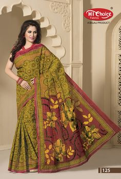 Multicolor Printed Cotton Saree With Blouse Cotton Sarees on Shimply.com