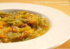 Potaje de zanahorias y judías verdes con jamón