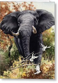 African Elephant Art Print - Watercolor Painting - Signed by Artist DJ Rogers - Wildlife - Wall Decor Asian Elephant, Elephant Love, Elephant Art, Oil Painting On Canvas, Watercolor Paintings, Watercolor Paper, Elephant Sketch, Safari, Elephant Photography