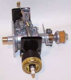 "New 1950 ""OK"" 1 20 Gold Head Opposed Twin Spark Ign Model Airplane Engine 