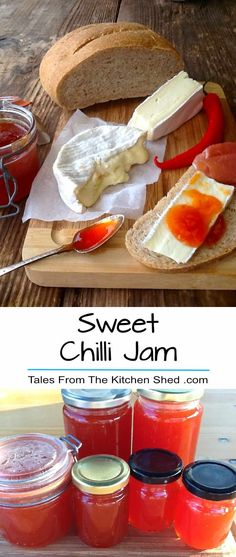 Sweet Chilli Jam Plenty of chillies? Make this delicious Sweet Chilli Jam. Perfect with cheese & homemade bread & makes a great edible gift! Chilli Recipes, Jelly Recipes, Chutney Recipes, Canning Recipes, Chilli Jelly Recipe, Canning Tips, Drink Recipes, Chilli Jam, Sweet Chilli