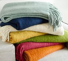 """Solid Mohair Oversized Throw, 55 x 80"""", French Blue"""
