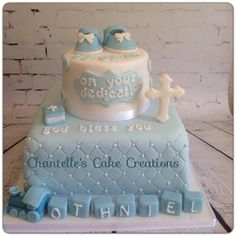 Made this dedication cake for Othniel. He is such an adorable little boy. His name is so special meaning Warrior of Christ All toppers handmade