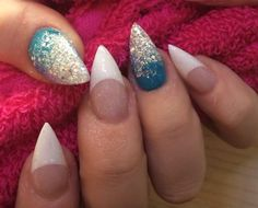 Pink and white with blue and silver fade acrylic nails