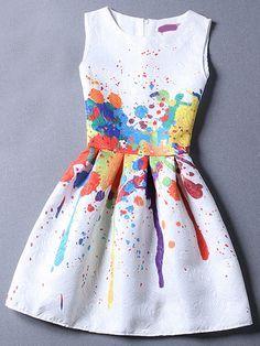 Vestido sin manga estampado jacquard -multicolor-Spanish SheIn(Sheinside)