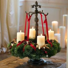 Christmas Advent Wreath, Nordic Christmas, Antique Christmas, Christmas Time, Christmas Crafts, Christmas Decorations, Xmas, Holiday Decorating, Fancy Candles