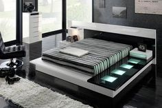 bed frame with square lights