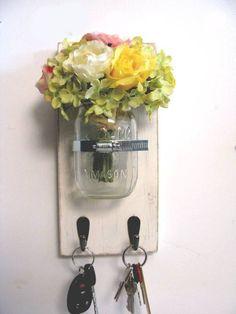 Canning Jar Vase Key Holder with 2 Hooks Key by HappywoodGoods