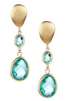 18K Gold Clad Graduated Cascading Teardrop Capri Crystal Pebble Post Earrings on HauteLook