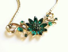 Vintage Green Flower Rhinestone Necklace by DewyMorningVintage, $27.00