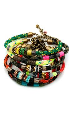 Bluma Project beaded rope bangles... loving the color/pattern mix