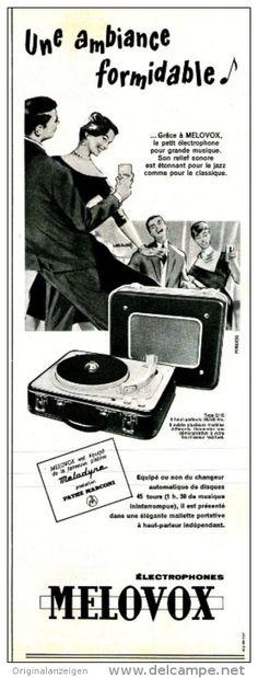 Original-Anzeige / Publicité 1957 - (en français) MELOVOX TOURNE-DISQUE / ELECTROPHONE - ca. 110 x 320 mm