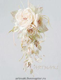 """Купить Каскадные розы """"Туранжель"""" - шелковые цветы, цветы, органза, боа, бисер, кружево, тафта"""