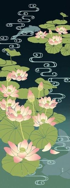Japanese Tenugui Cotton Fabric, Lotus Flower, Floral Fabric, Hand Dyed Fabric, Abstract Water, Traditional Asian Art Wall, Home Decor, h023