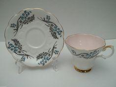 Vintage Royal Albert Blue Flower Floral Soft Pink Lustre Teacup Tea Cup Saucer | eBay