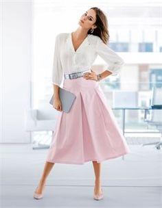 Skirt, Belt, Slingback heels, Blouse, pure silk