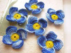 Crochet flower appliques scrapbooking blue ★by FlowersbyIrene