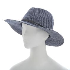 Vince Camuto Heather Woven Panama Wool Blend Hat - Blue