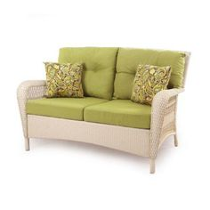 Charlottetown White All-Weather Wicker Patio Settee with Green Cushions (or in orange Sunroom?)