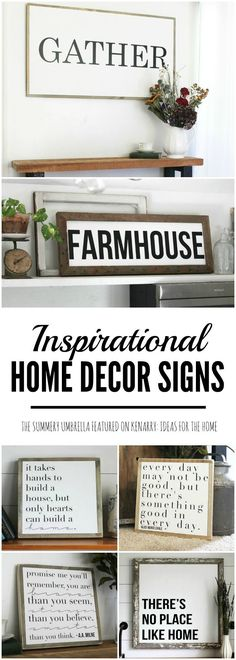 Beautiful inspirational home decor signs from The Summery Umbrella which offers rustic home decor with a twist of modern appeal. These signs make are wonderful gift ideas and would look great in any living room, dining room, bedroom or home office especia