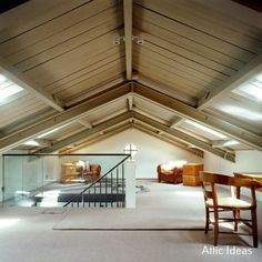 Loft conversion ideas from the world's most stylish homes. If you're wondering how to make your attic conversion or loft conversion work with a dormer roof, or how to integrate the stairs we've got the ideas. Attic Loft, Loft Room, Attic Stairs, Attic Ladder, Attic House, Attic Playroom, Attic Window, Attic Library, Attic Office