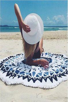 Round Microfiber Beach Blanket/Towel