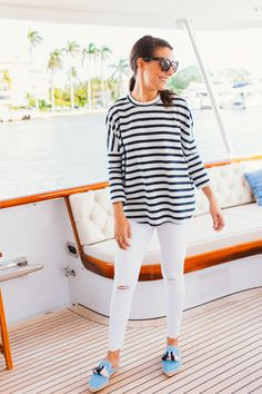Stripes and espadrilles in Palm Beach.