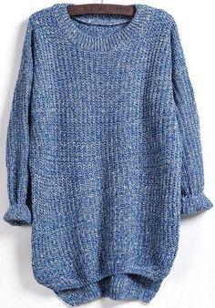 fall oversized sweater, dipped hem loose sweater - Crystalline