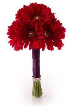 "Red Gerbera Daisy Bridal Bouquet | ""Simply Gerbera"" in Red | Wedding Bouquet of Gerbera Daisies"