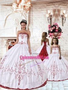 976152cfb7 White Strapless Princesita Dress with Red Embroidery for 2014 Princesita