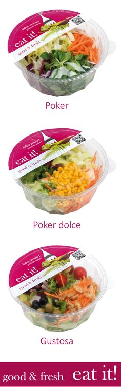 Eat it! bowl product range, gamma prodotti ciotole #salad #packaging #bowl #ciotola #insalata L'Insalata dell'Orto