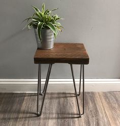 This side table has been stained with Osmo Amber finish 3072 Modern Rustic industrial reclaimed side tables with hairpin legs