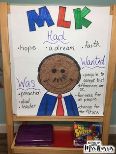 Science Party Anchor Charts - Martin Luther King Jr for the Digital Classroom Kindergarten Anchor Charts, Kindergarten Social Studies, Kindergarten Activities, Activities For Kids, Diversity Activities, Kindergarten Freebies, History Activities, Holiday Activities, King Craft