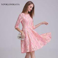 Spring Summer Dresses Hollow Out Women Floral Crochet Casual Pink Lace Dress  Girls Femininas Elegant Evening