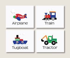 Boys Room Decor, Airplane, Train, Tractor, Tugboat, Childrens Decor, Blue, Red, Green, Orange, Personalized 8 x 10 Art Print, Set of 4