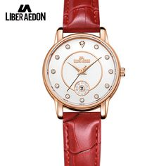 Liber Aedon Fashion Quarts Women Gold with Crystal Leather Strap Women Wrist Watches Relojes 2017 Ladies Bracelet Watches #Affiliate