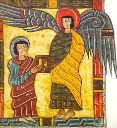 An angel gives John a letter for the Church of Ephesus, Apocalypse II, Illuminated parchment, ca. 950-955