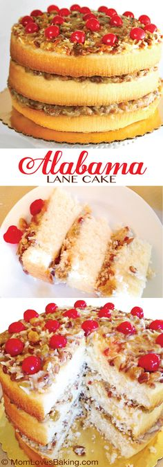 Alabama Lane Cake. A Southern favorite. It's a lot like a blonde German chocolate cake. With a bit of bourbon. You've gotta try it! #lanecake