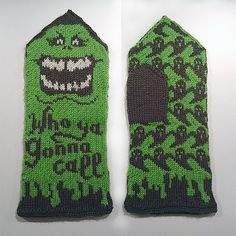 Ravelry: Slimer Mittens (Ghostbusters tribute) pattern by Therese Sharp 40 SEK Make for Bro Max Easy Knitting Patterns, Crochet Flower Patterns, Knitting Charts, Knitting Projects, Baby Knitting, Knitting Ideas, Knit Mittens, Knitted Gloves, Star Wars Crochet