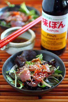 Seared Ahi Tuna Salad with Mizkan Ponzu - lightly seared ahi tuna on top of a bed of greens, drizzled with a splash of Japanese ponzu dressing. #seafood #salad #tuna