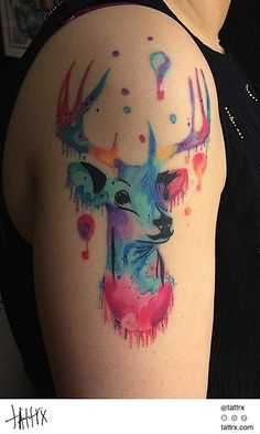 Kerste Diston - Pastel Deer tattrx.com/artists/kerste-diston