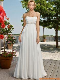 2012 Tubino Chiffon Impero Perline Abito da sposa Spiaggia