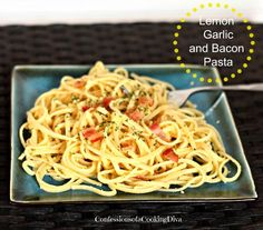 lemon garlic and bacon pasta - confessions of a cooking diva Entree Recipes, Bacon Recipes, Cooking Recipes, Dishes To Go, Side Dishes, Great Recipes, Favorite Recipes, Bacon Pasta, Pasta Dishes