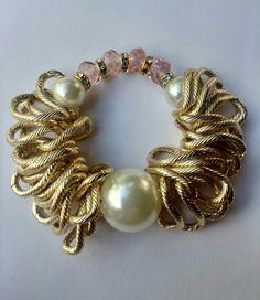 Mod:P30 Pulsera de cristal perla y eslabones $110.00 mayoreo 25% de descuento $83.00