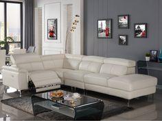 Canapé d'angle droit relax électrique SITIA cuir blanc prix Canapé Vente Unique 1 699.99 € prix constaté* : 3 292 €