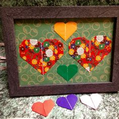 Origami Hearts Art in 4x6 Frame Charming and by LeNoirBleu on Etsy
